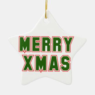Merry Xmas (2) Ceramic Star Decoration