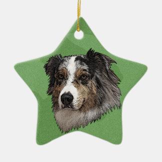 Merry Xmas Australian Shepherd Christmas Tree Ornaments