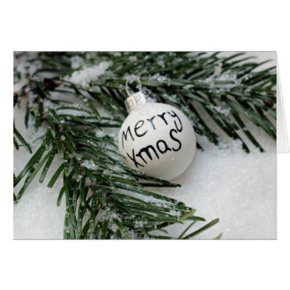 Merry Xmas Baubel in Snow Greeting Card