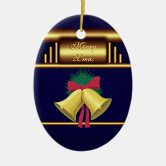 Merry Xmas Bells on Brass and Blue Ceramic Oval Decoration