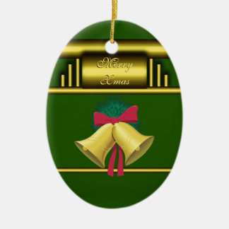 Merry Xmas Bells on Gold and Green Christmas Ornament