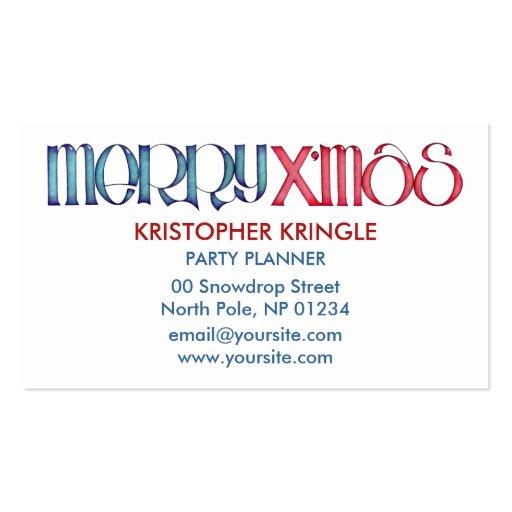 Merry X'mas blue Business Card