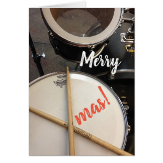Merry Xmas Christmas Card for a Drummer