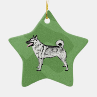 Merry Xmas Elkhound Christmas Ornament
