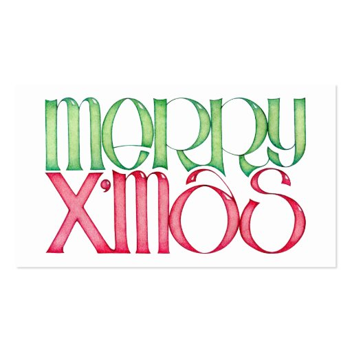 Merry X'mas Gift Tag Business Card Templates