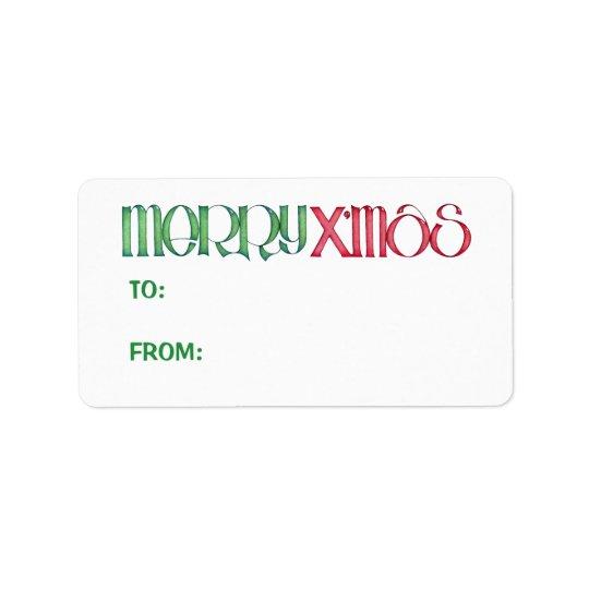 Merry X'mas green Gift Tag