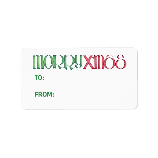 Merry X'mas green Gift Tag Address Label