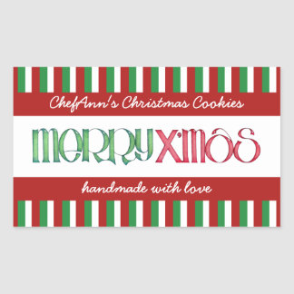 Merry X'mas green Kitchen Jar Rectangle Label