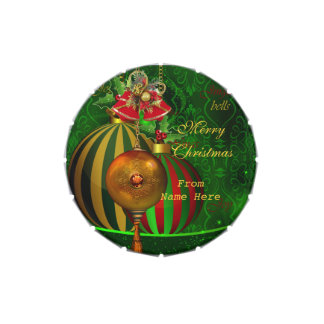 Merry Xmas Green Red Bells Christmas Favor Lollies Candy Tins
