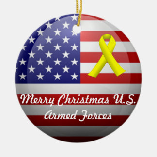 Merry Xmas/Happy Holidays U.S. Armed Forces Christmas Ornament