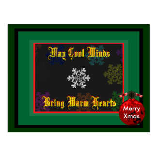 Merry Xmas May Cool Winds Bring Template 2 Postcard