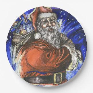 """Merry Xmas"", Paper Plates 9"" x 9"""