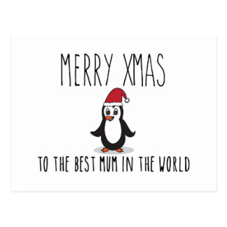 Merry Xmas Penguin Christmas Card Best Mum