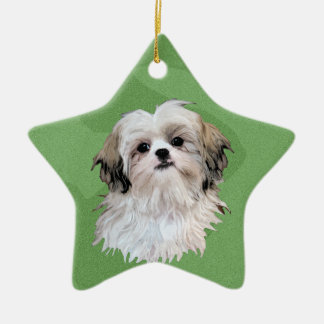 Merry Xmas Shih Tsu Christmas Ornament