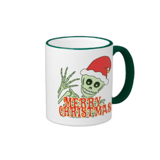 Merry Xmas Skeleton Ringer Coffee Mug