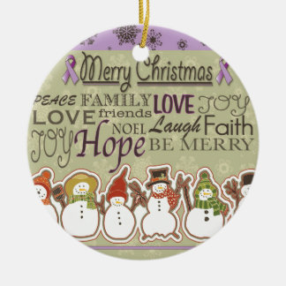 Merry XMAS snowmen Pancreatic Cancer Products Christmas Ornament
