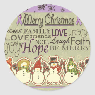 Merry XMAS snowmen Pancreatic Cancer Products Classic Round Sticker