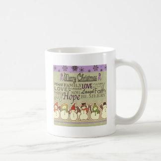 Merry XMAS snowmen Pancreatic Cancer Products Coffee Mugs