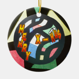 Merry Xmas Stained Glass Ball Round Ornament