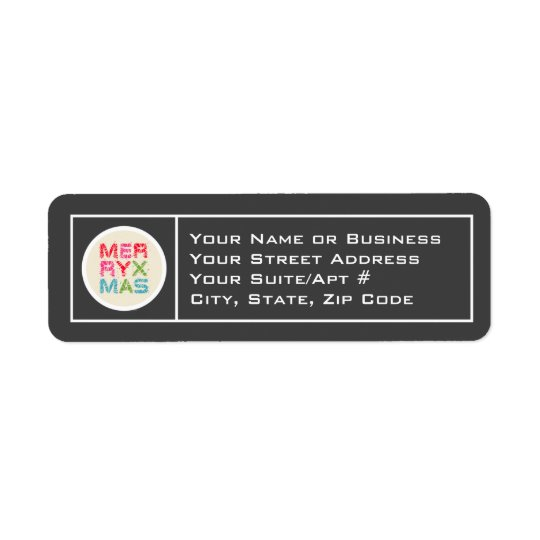 Merry Xmas Typography Return Address Labels