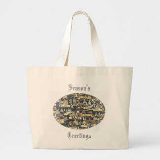 Merry Xmas Vintage Antique Holiday Gold Village Jumbo Tote Bag