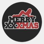 Merry XXXMas Xmas Parody Classic Round Sticker