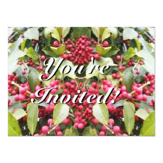 Merry Yule Berry Winter Solstice Christmas 17 Cm X 22 Cm Invitation Card
