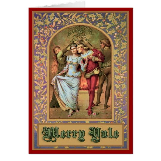 Merry Yule - Vintage Mediaeval Card
