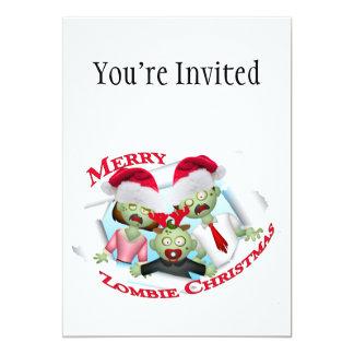 Merry Zombie Family Christmas 13 Cm X 18 Cm Invitation Card