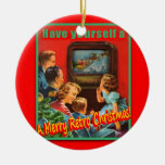 MerryRetroChrmsTV-CERAMIC Round Ornament