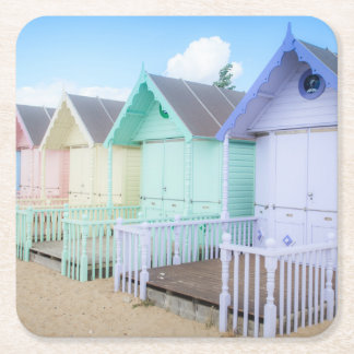 Mersea Island Beach Huts Square Paper Coaster