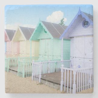 Mersea Island Beach Huts Stone Coaster