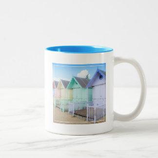 Mersea Island Beach Huts Two-Tone Coffee Mug
