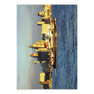 Mersey Ferry & Liverpool Waterfront 13 Cm X 18 Cm Invitation Card