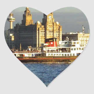 Mersey Ferry & Liverpool Waterfront Heart Sticker
