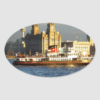 Mersey Ferry & Liverpool Waterfront Oval Sticker