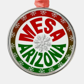 Mesa Arizona red green snowflake ornament