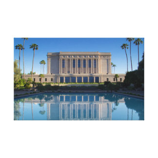 Mesa temple reflecting in a blue pool canvas print