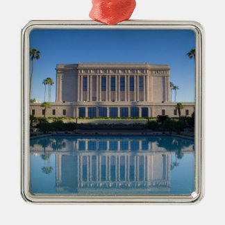 Mesa temple reflecting in a blue pool christmas ornament