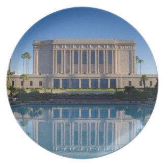 Mesa temple reflecting in a blue pool plate