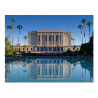 Mesa temple reflecting in a blue pool postcard