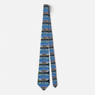 Mesa temple reflecting in a blue pool tie