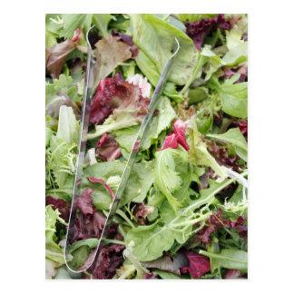 Mesclun salad mix with tongs postcard