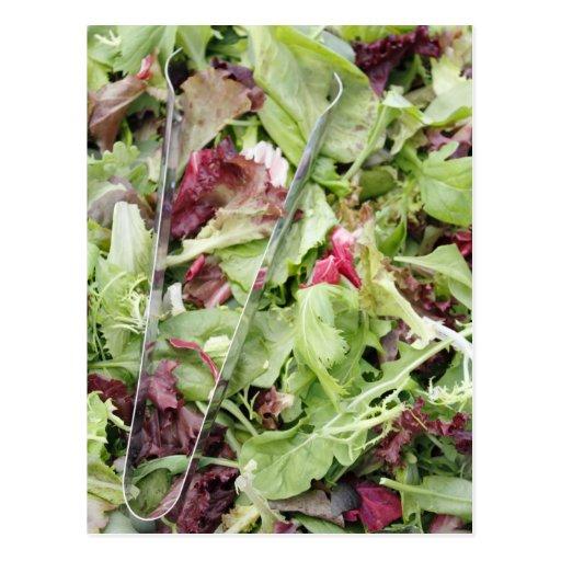 Mesclun salad mix with tongs post cards