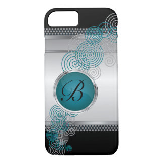 Mesh Steel with Circular Silver & Jade on Black iPhone 8/7 Case
