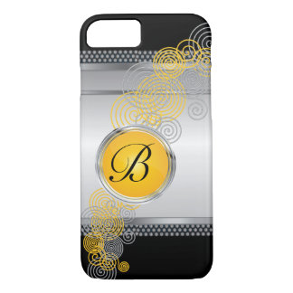 Mesh Steel with Circular Silver & Yellow on Black iPhone 7 Case