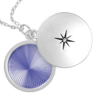 mesh white purple round locket necklace