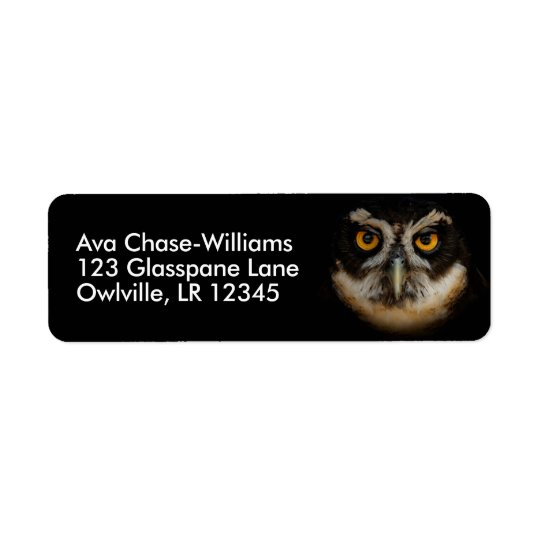Mesmerising Golden Eyes of a Spectacled Owl Return Address Label