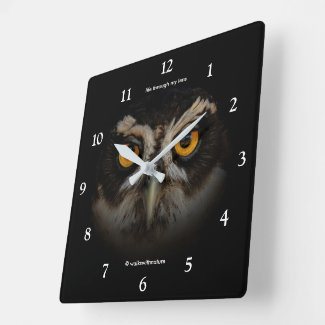 Mesmerising Golden Eyes of a Spectacled Owl Square Wall Clock