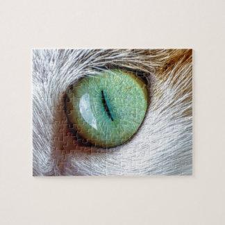 Mesmerizing Beautiful Green Cat's Eye Jigsaw Puzzle